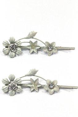 Schuifspeldjes bloemen wit