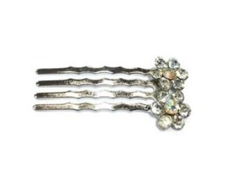Schuifspeldje bloem strass zilver