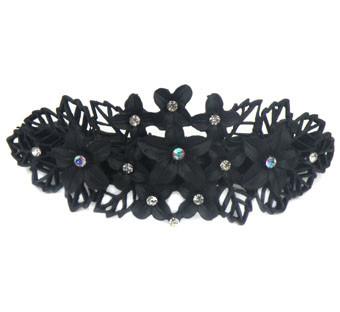 Haarspeld bloem opengewerkt zwart