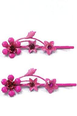 Schuifspeldjes bloemen fuchsia roze
