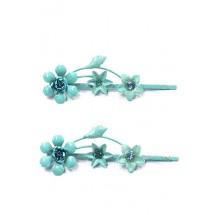 Schuifspeldjes bloemen aqua