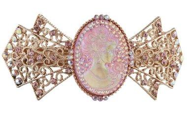 Haarspeld brocant medaillon strik rosé
