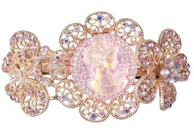 Haarspeld brocant medaillon bloem rosé