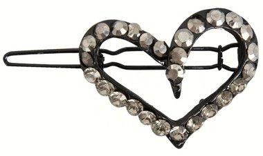 Haarclip hart strass zwart