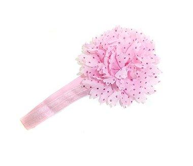 Haarbandje bloem glitter licht roze