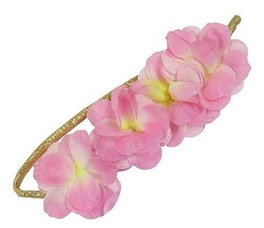Haarband goud bloemen roze