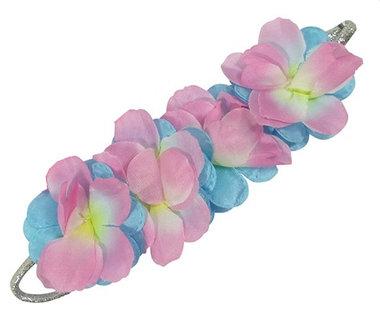 Haarband zilver bloemen roze blauw