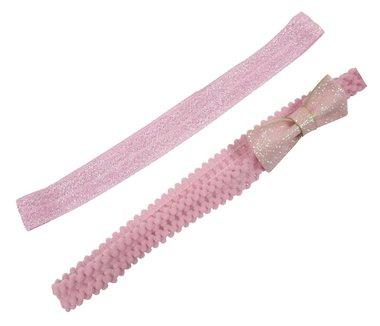 Haarbandje glitter strik roze zilver