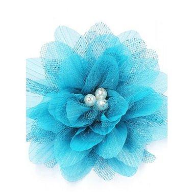 Haarbloem petrol blauw
