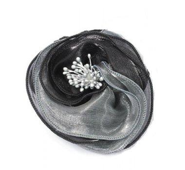 Haarbloem gedraaid grijs zwart
