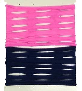 Elastiek Ibiza armband open blauw roze