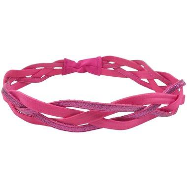 Haarband elastiek gevlochten glitter roze