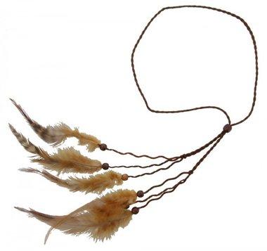 Haarband Ibiza feather bruin