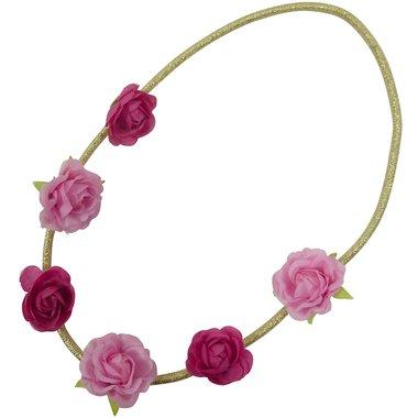 Haarband goud roosjes roze