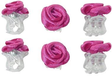 Haarklemmen roosje fuchsia roze