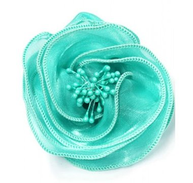 Haarbloem gedraaid aqua blauw