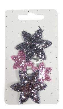 Klikklak mini ster glitter roze zilver