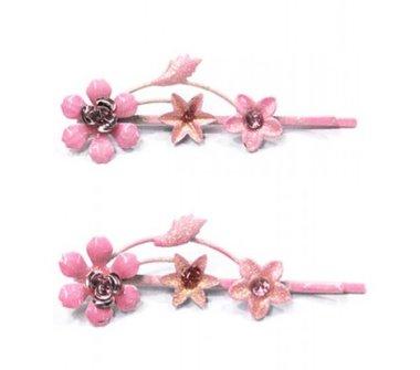 Schuifspeldjes bloemen roze