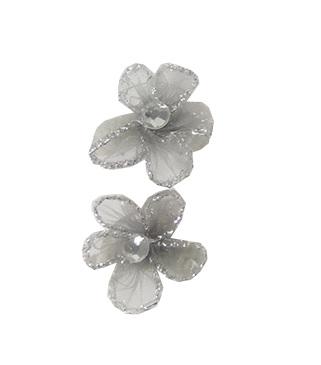 Elastieken mini bloem grijs