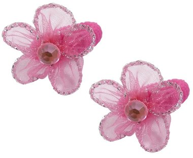 Elastieken mini bloem roze