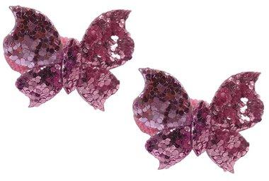 Elastieken mini vlinder glitter roze