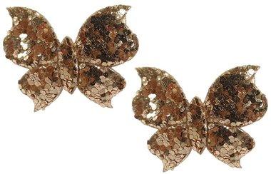 Elastieken mini vlinder glitter goud