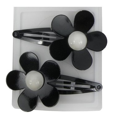 Klikklak metaal bloem zwart wit