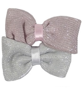 Duckklemmen glitter strik zilver roze