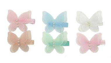 Duckklemmen vlinder tule parel pastel