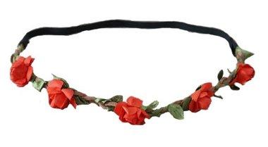 Haarband bloemetjes rood