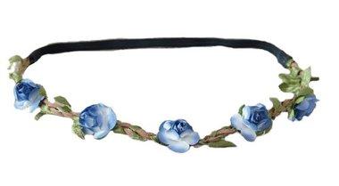 Haarband bloemetjes blauw