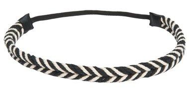 Haarband gevlochten zwart wit