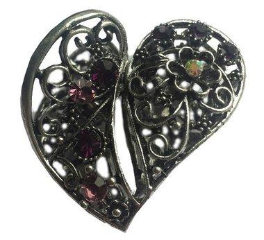 Haarklem hart strass paars