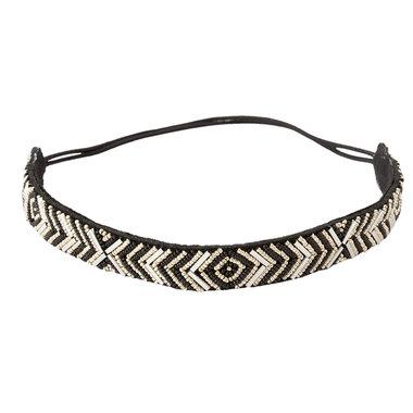 Haarband kraaltjes zwart goud
