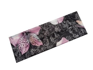 Haarband bloem zwart roze