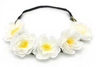 Haarband Ibiza flower wit