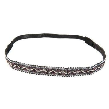 Haarband borduur zwart paars