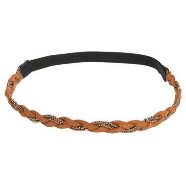 Haarband gevlochten goud bruin