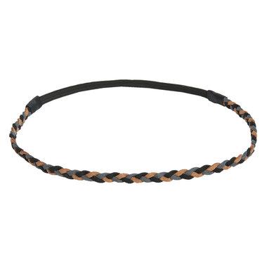 Haarband gevlochten bruin grijs zwart