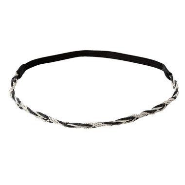 Haarband gevlochten ketting zilver zwart