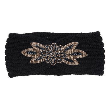 Haarband knitted kraaltjes goud zwart