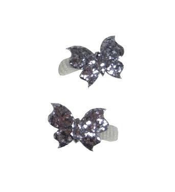Elastieken mini vlinder glitter zilver