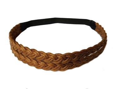 Haarband koord dubbel bruin