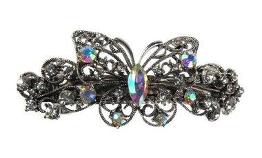 Haarspeld strass vlinder zilver
