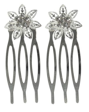 Sierkammen bloem strass zilver