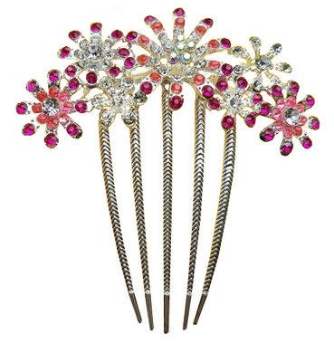 Sierkam bloem strass zilver roze