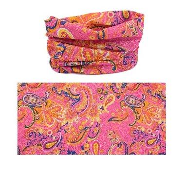 Haarband multifunctioneel paisley roze geel