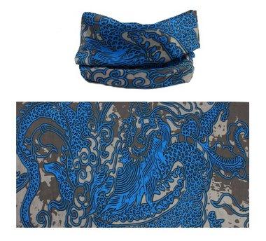 Haarband multifunctioneel dragon blauw