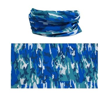 Haarband multifunctioneel camouflage blauw