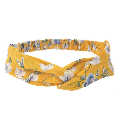 Haarband twist bloemen print geel